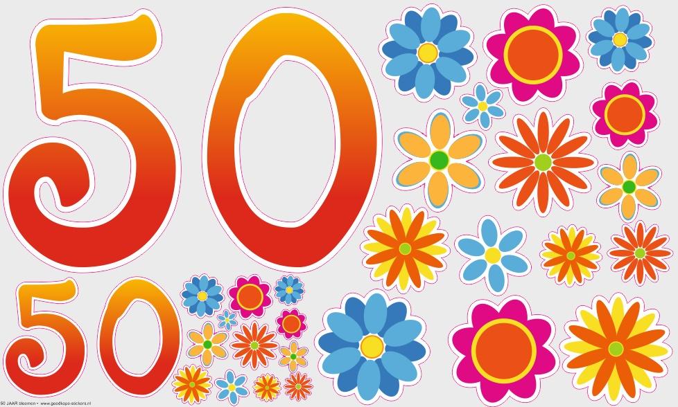 Verjaardag 50 Jaar Met Bloemen Goedkope Stickers