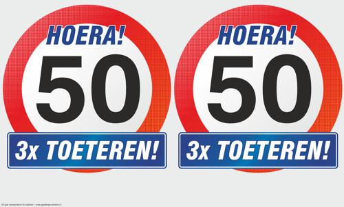 Verjaardag 50 Jaar Verkeersbord 3x Toeteren